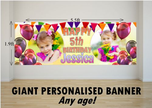 Personalised GIANT Large Bunting & Balloons Happy Birthday PHOTO Poster Banner N58 ANY AGE